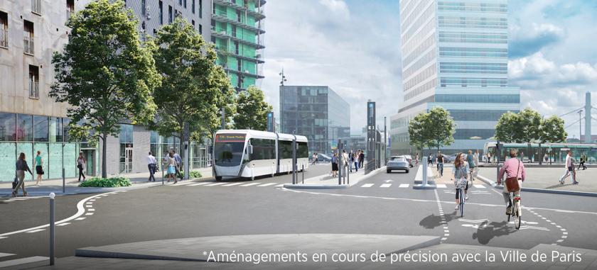 Perspective du futur aménagement avenue de France – Paris 13e ©Richez Associés
