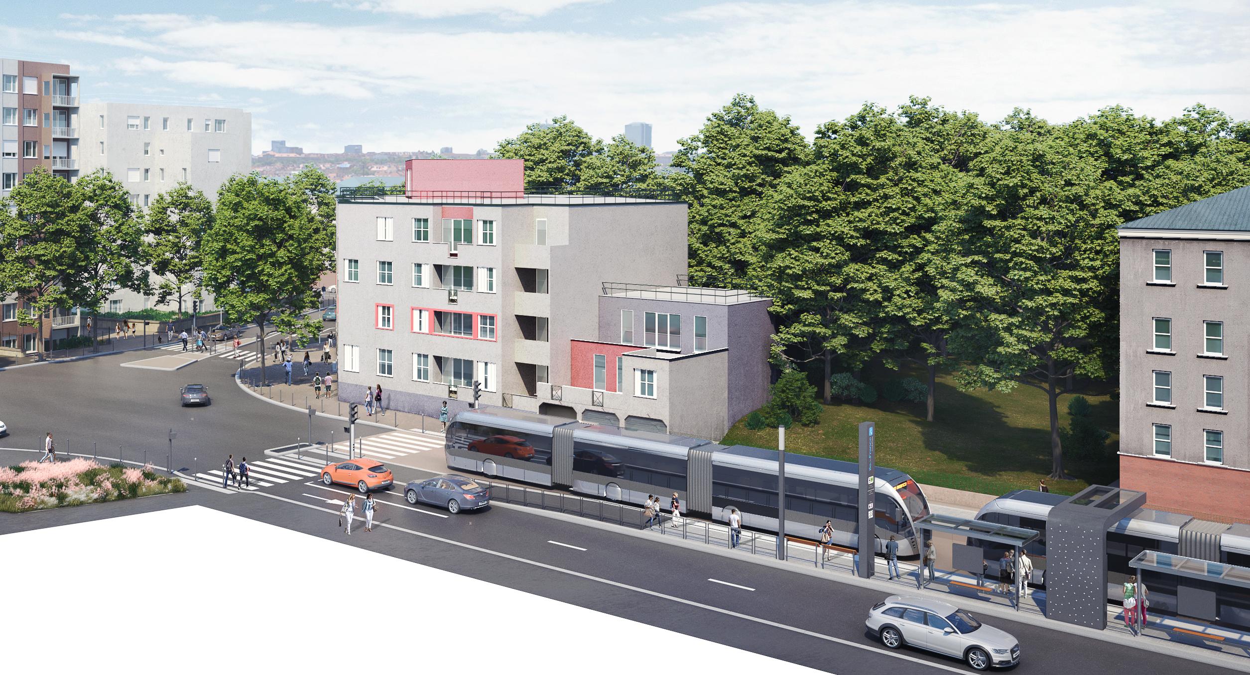 Perspective du T Zen 5 au croisement des rues Régnier et Marcailloux